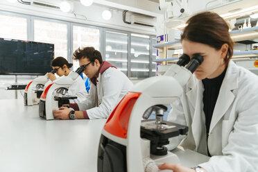 Laboratory technicians using microscopes in lab - ZEDF00574