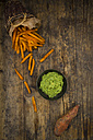 Sweet potato fries and avocado dip on wood - LVF06021