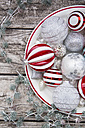 Christmas baubles on plate - LVF06030