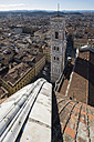 Italy, Florence, view to Campanile di Giotto and roof of Basilica di Santa Maria del Fiore from above - LOMF00548