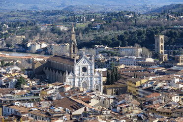 Italy, Florence, Basilica di Santa Croce seen from above - LOMF00551