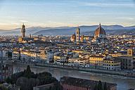 Italy, Florence, cityscape with  Palazzo Vecchio and Basilica di Santa Maria del Fiore at sunset - LOMF00557