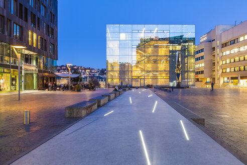 Germany, Stuttgart, lighted Art Museum - WD03997