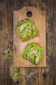 Sandwich with avocado cream and cucumber garnished with radish sprouts - LVF06039
