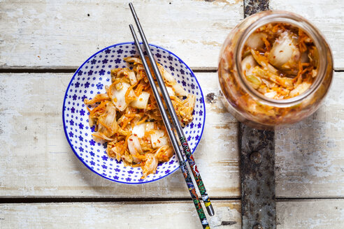Homemade Korean Kimchi with chinese cabbage, scallions and carrots - SBDF03179