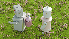 Robot family in meadow, 3d rendering - UWF01153