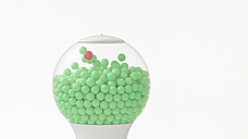 Gumball machine with lots of green spheres and one red sphere, 3d rendering - UWF01162