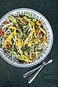 Bowl of salad with cabbage, carrot, avocado, mango, chicory, ginger, cress and black cumin - IPF00370