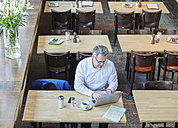 Mature businessman in cafe using laptop - FMKF03917