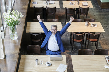 Cheering mature businessman in cafe with laptop - FMKF03956
