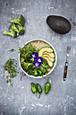 Detox bowl of brokkoli, quinoa, avocado, Pimientos de Padron, cress and pansies - LVF06057