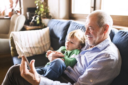 Grandfather and grandson sitting on couch, using digital tablet - HAPF01492