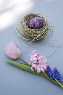 Easter decoration with nest, egg and spring flowers - GISF00281