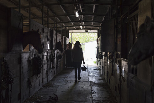 Young woman walking in horse stable - ZOCF00247