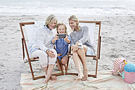 Mother, daughter and grandmother taking selfies on the beach - SRYF00377