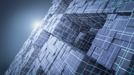 Light shining above futuristic cubes, 3d rendering - AHUF00333
