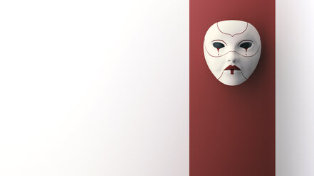 Crying mask hanging on wall, 3d rendering - AHUF00348