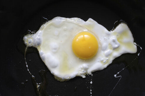 Fried egg on black background - HSTF00051