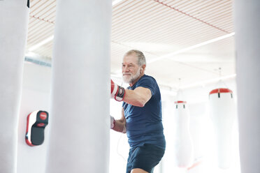 Fit senior man in boxing gloves fighting - HAPF01675