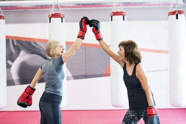 Two happy senior women with boxing gloves in gym - HAPF01687