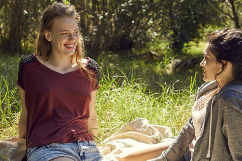 Two best friends relaxing on a meadow - SRYF00502