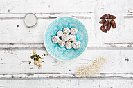 Bliss Balls with dates, pistachio, oat flakes and coconut flakes - LVF06082
