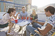 Friends having a rooftop party on a beautiful summer evening - WESTF23115