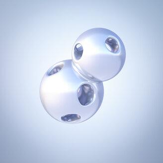 Two connected mercury spheres, 3d rendering - AHUF00353