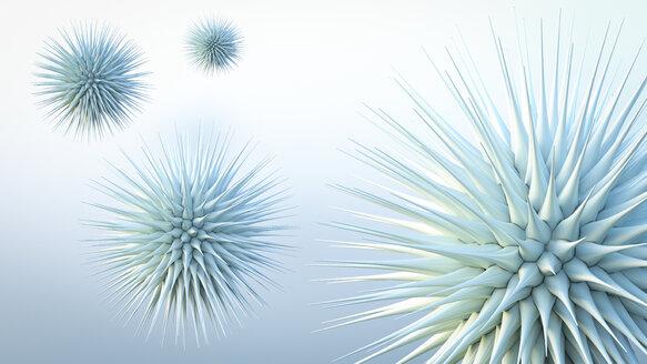 Floating spiky spheres, 3d rendering - AHUF00356