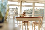 Girl at home drawing at table - JOSF00786
