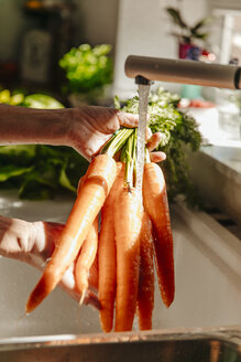 Washing carrots in kitchen - JOSF00807