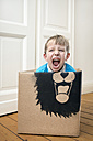 Roaring boy inside a cardboard box painted with a lion - PSTF00005