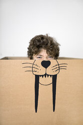 Boy inside a cardboard box painted with a saber-toothed tiger - PSTF00020