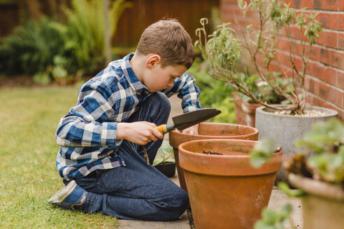 Boy planting and sowing seeds - NMSF00114