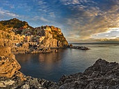 Italy, Liguria, province of La Spezia, Cinque Terre, Manarola at sunset - YRF00158