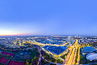 Germany, Bavaria, Munich, cityscape near Olympic Park at night, drone photography - MMAF00097