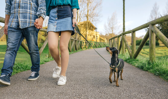 Young couple going walkies with dog, partial view - DAPF00756