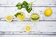 Two glasses of cooled lemonade flavoured with lemon balm - LVF06118