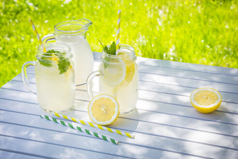 Two glasses of cooled lemonade flavoured with lemon balm - LVF06121