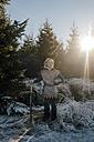 Little boy standing in nature wearing knight costume - KNSF01451