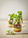 Preserving jar of buckwheat salad with vegetables and diced Striploin Steak - KSWF01812