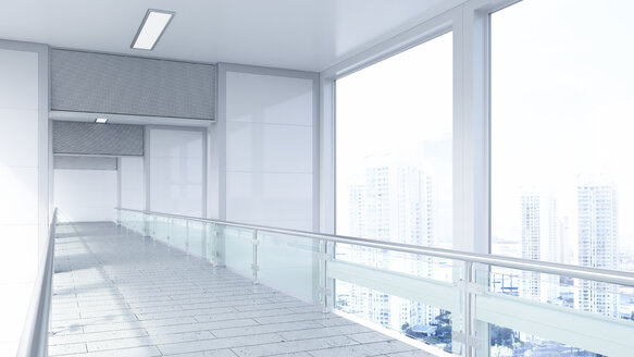 Empty lobby in a modern office building, 3D Rendering - UWF01182