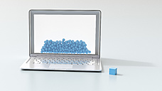 Laptop, blue balls and a cube, 3D Rendering - UWF01188