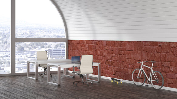 Two desks, racing cycle and skateboard in a loft, 3D Rendering - UWF01194