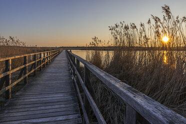 Germany, Bad Buchau, Lake Feder, wooden boardwalk at sunset - KEBF00557