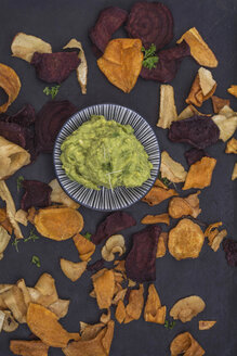 Vegetable chips with avocado dip and cress - ODF01513