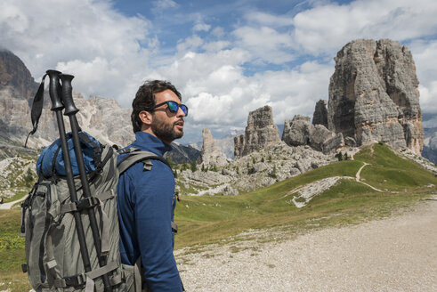 Italy, Man trekking in the Dolomtes - ZOCF00482