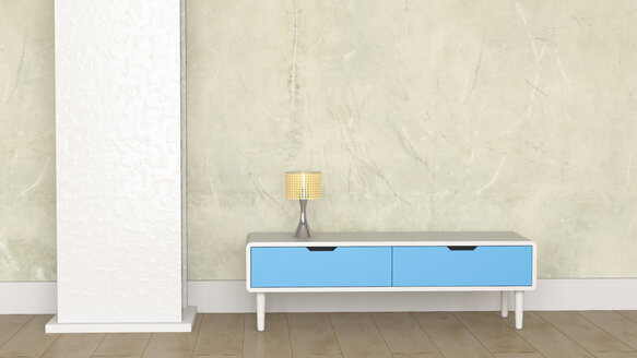 Loft with lamp on retro style sideboard - UWF01212