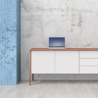 Loft with laptop on retro style sideboard - UWF01215