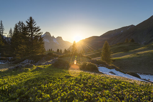 Austria, Vorarlberg, Hochtannberg Pass in backlight - MKFF00335